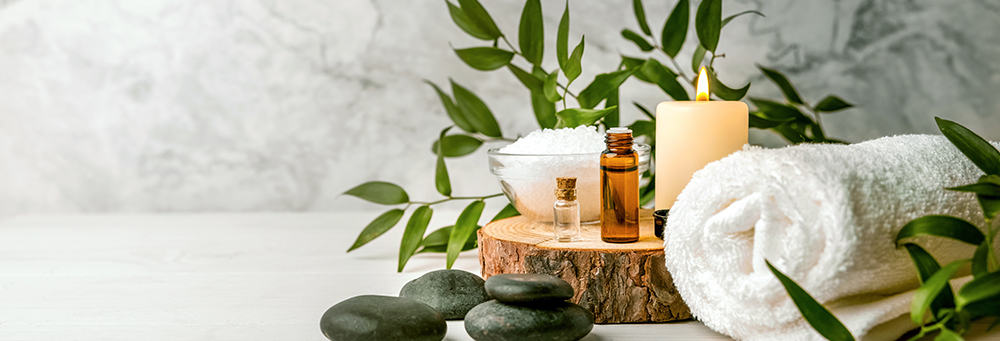 spa treatments leaves and massage oils